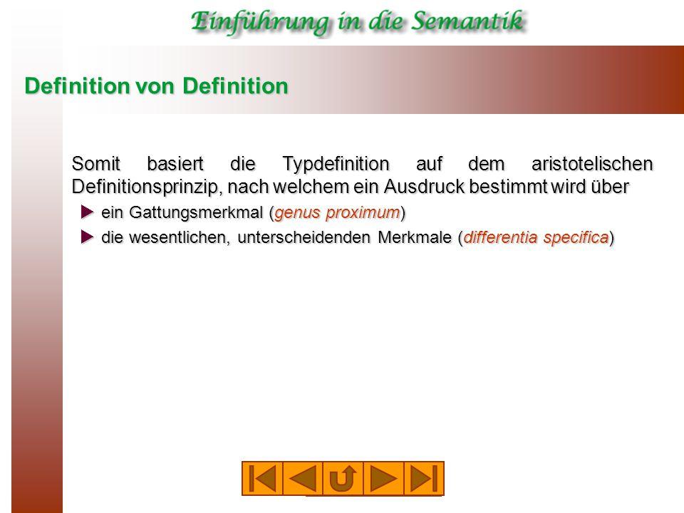 Definition von Definition Somit basiert die Typdefinition auf dem aristotelischen Definitionsprinzip, nach welchem ein Ausdruck bestimmt wird über  ein Gattungsmerkmal (genus proximum)  die wesentlichen, unterscheidenden Merkmale (differentia specifica)