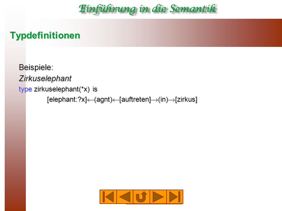 Typdefinitionen Beispiele:Zirkuselephant type zirkuselephant(*x) is [elephant:?x]  (agnt)  [auftreten]  (in)  [zirkus]