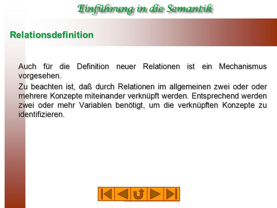 Relationsdefinition Auch für die Definition neuer Relationen ist ein Mechanismus vorgesehen.