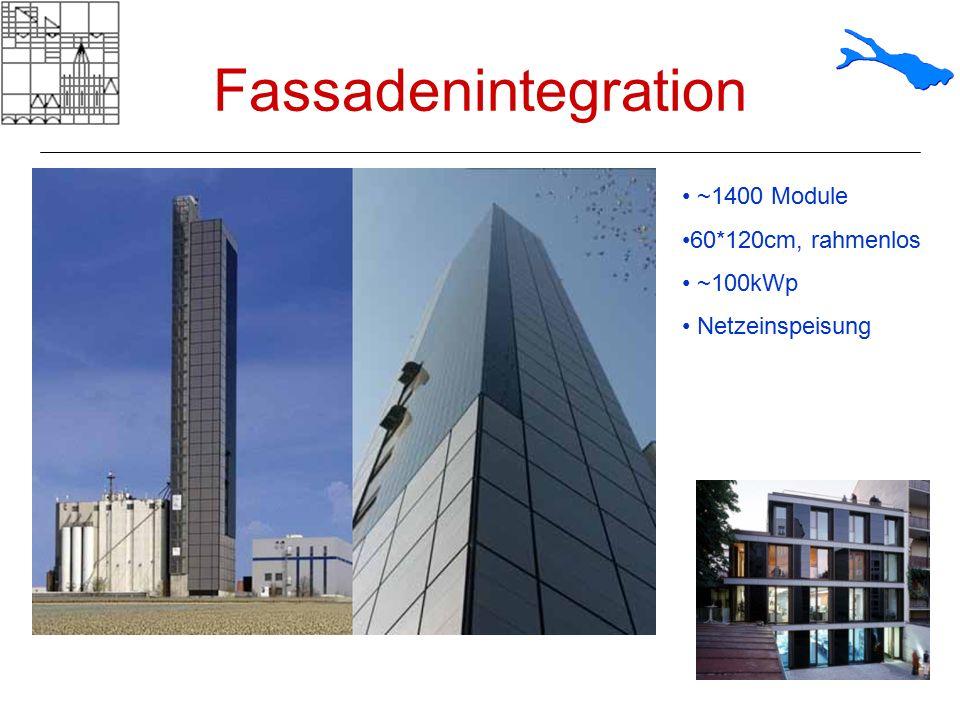 Fassadenintegration ~1400 Module 60*120cm, rahmenlos ~100kWp Netzeinspeisung