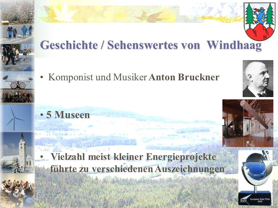 Komponist und Musiker Anton Bruckner Geschichte / Sehenswertes von Windhaag 5 Museen Vielzahl meist kleiner Energieprojekte führte zu verschiedenen Au