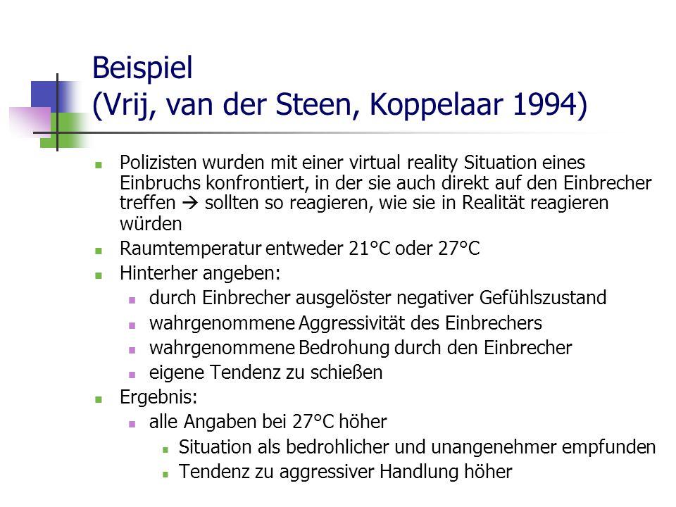 Beispiel (Vrij, van der Steen, Koppelaar 1994) Polizisten wurden mit einer virtual reality Situation eines Einbruchs konfrontiert, in der sie auch direkt auf den Einbrecher treffen  sollten so reagieren, wie sie in Realität reagieren würden Raumtemperatur entweder 21°C oder 27°C Hinterher angeben: durch Einbrecher ausgelöster negativer Gefühlszustand wahrgenommene Aggressivität des Einbrechers wahrgenommene Bedrohung durch den Einbrecher eigene Tendenz zu schießen Ergebnis: alle Angaben bei 27°C höher Situation als bedrohlicher und unangenehmer empfunden Tendenz zu aggressiver Handlung höher