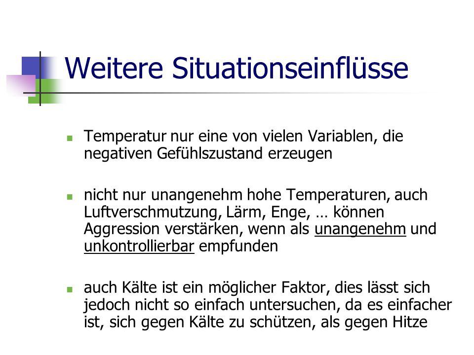 Weitere Situationseinflüsse Temperatur nur eine von vielen Variablen, die negativen Gefühlszustand erzeugen nicht nur unangenehm hohe Temperaturen, auch Luftverschmutzung, Lärm, Enge, … können Aggression verstärken, wenn als unangenehm und unkontrollierbar empfunden auch Kälte ist ein möglicher Faktor, dies lässt sich jedoch nicht so einfach untersuchen, da es einfacher ist, sich gegen Kälte zu schützen, als gegen Hitze