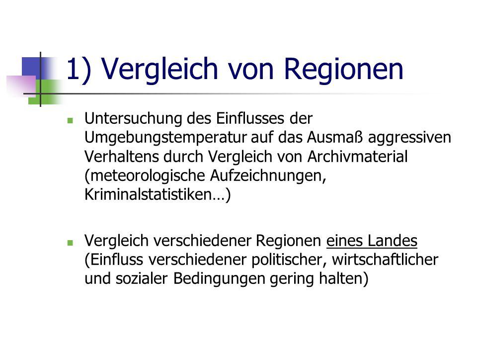 1) Vergleich von Regionen Untersuchung des Einflusses der Umgebungstemperatur auf das Ausmaß aggressiven Verhaltens durch Vergleich von Archivmaterial