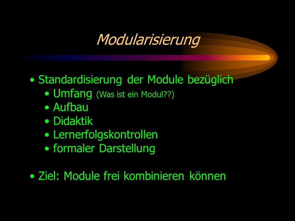 Modularisierung Standardisierung der Module bezüglich Umfang (Was ist ein Modul ) Aufbau Didaktik Lernerfolgskontrollen formaler Darstellung Ziel: Module frei kombinieren können