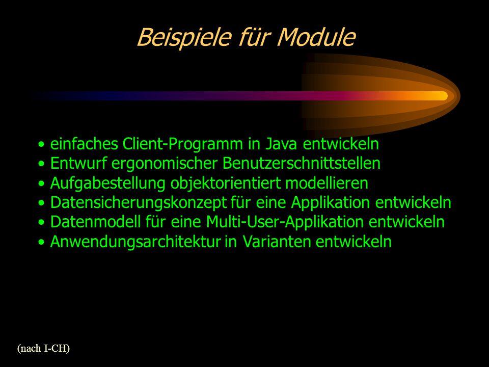 Beispiele für Module (nach I-CH) einfaches Client-Programm in Java entwickeln Entwurf ergonomischer Benutzerschnittstellen Aufgabestellung objektorientiert modellieren Datensicherungskonzept für eine Applikation entwickeln Datenmodell für eine Multi-User-Applikation entwickeln Anwendungsarchitektur in Varianten entwickeln