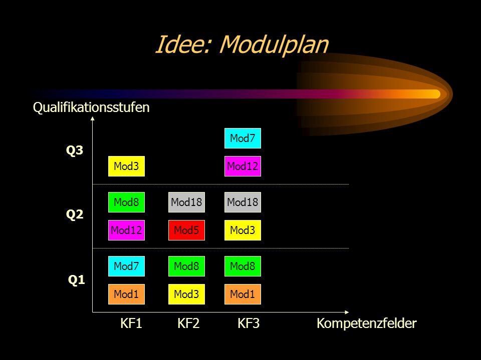 Idee: Modulplan Kompetenzfelder Qualifikationsstufen Q1 Q2 Q3 KF1 KF2KF3 Mod1 Mod7 Mod12 Mod8 Mod3 Mod1 Mod8 Mod3 Mod18 Mod3 Mod8 Mod12 Mod5 Mod18 Mod7