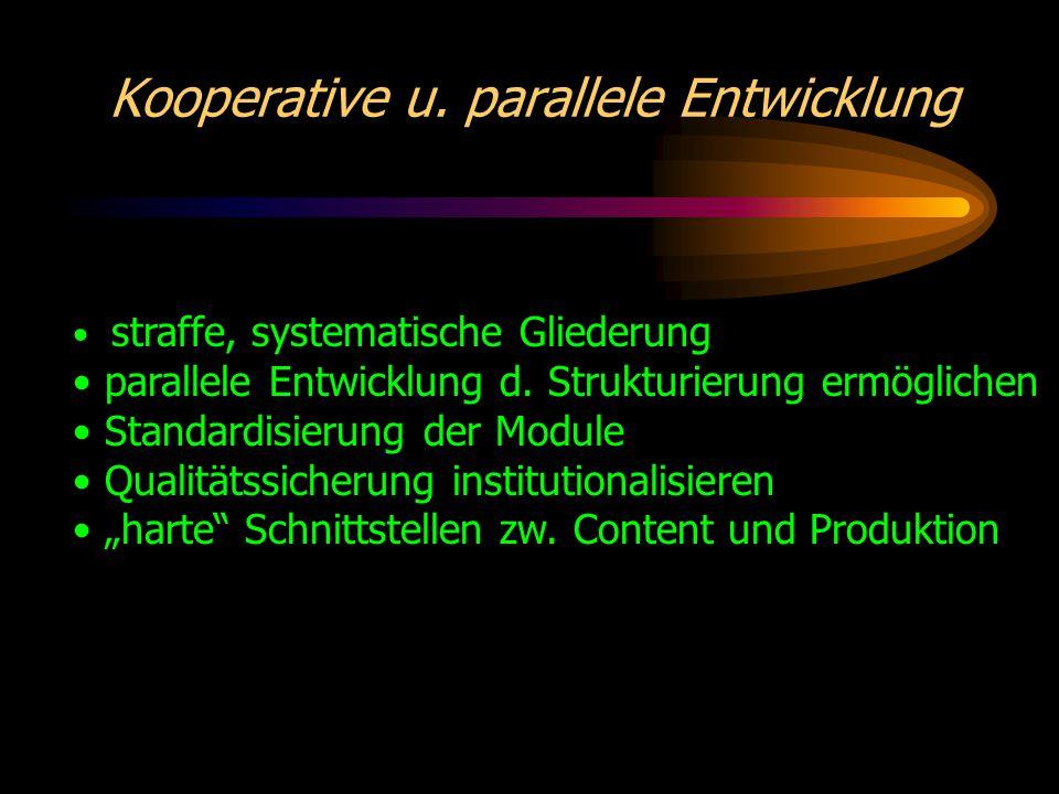 Kooperative u. parallele Entwicklung straffe, systematische Gliederung parallele Entwicklung d.