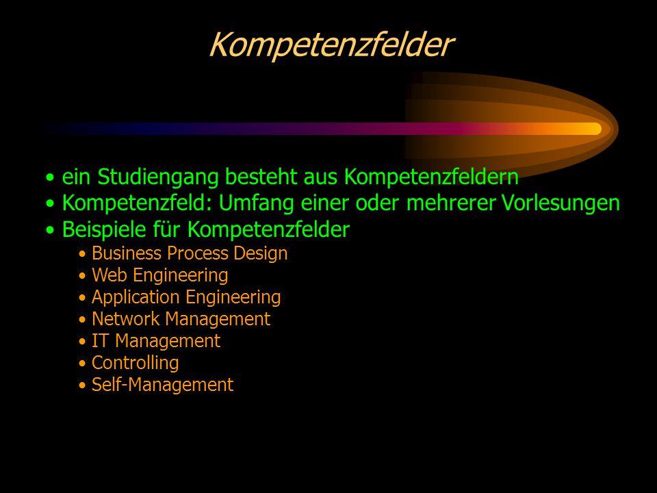 Kompetenzfelder ein Studiengang besteht aus Kompetenzfeldern Kompetenzfeld: Umfang einer oder mehrerer Vorlesungen Beispiele für Kompetenzfelder Business Process Design Web Engineering Application Engineering Network Management IT Management Controlling Self-Management
