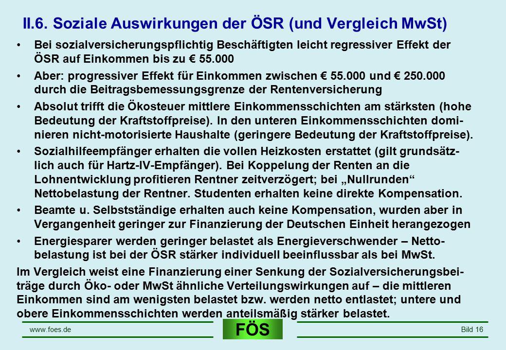 FÖS www.foes.deBild 16 II.6. Soziale Auswirkungen der ÖSR (und Vergleich MwSt) Bei sozialversicherungspflichtig Beschäftigten leicht regressiver Effek