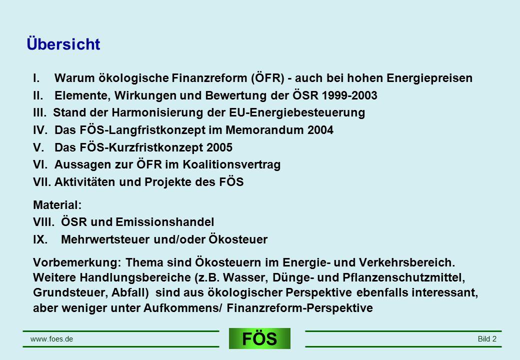 FÖS www.foes.deBild 2 Übersicht I. Warum ökologische Finanzreform (ÖFR) - auch bei hohen Energiepreisen II. Elemente, Wirkungen und Bewertung der ÖSR