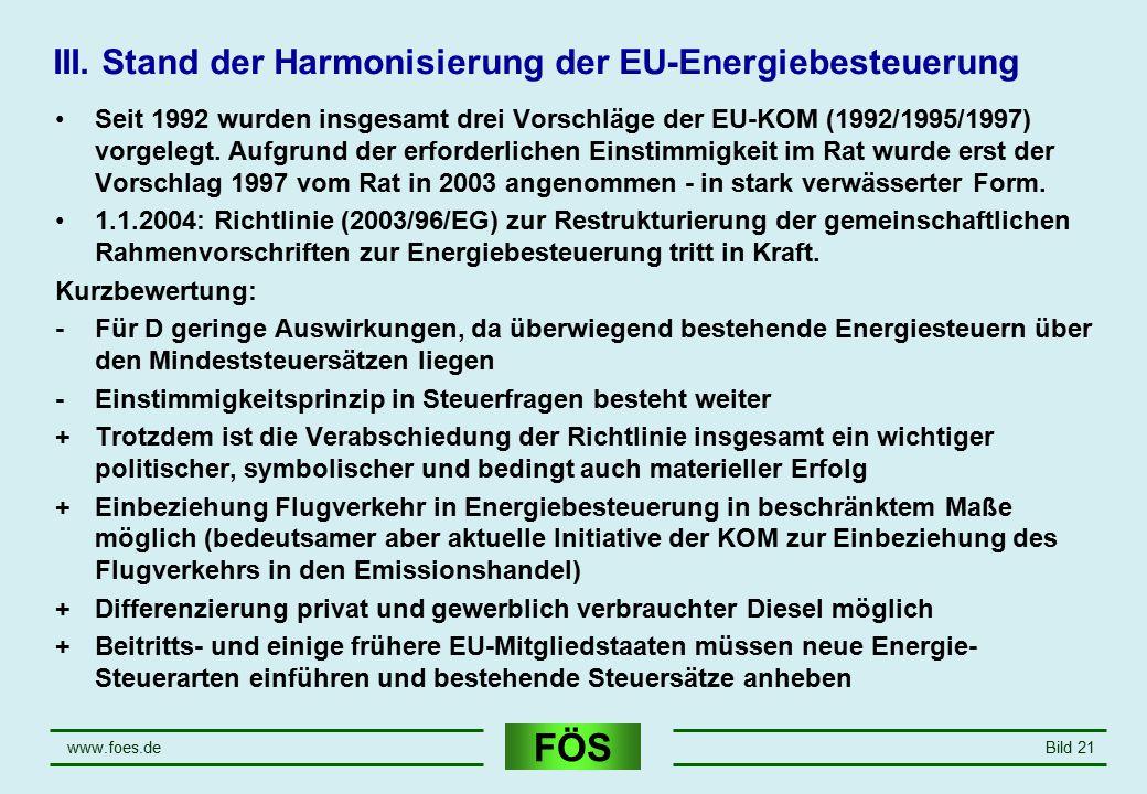 FÖS www.foes.deBild 21 III. Stand der Harmonisierung der EU-Energiebesteuerung Seit 1992 wurden insgesamt drei Vorschläge der EU-KOM (1992/1995/1997)