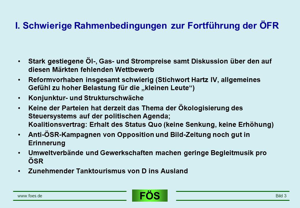 FÖS www.foes.deBild 3 I. Schwierige Rahmenbedingungen zur Fortführung der ÖFR Stark gestiegene Öl-, Gas- und Strompreise samt Diskussion über den auf