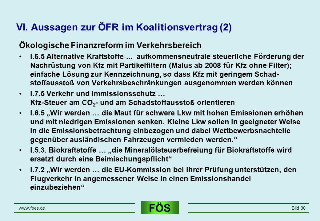 FÖS www.foes.deBild 30 VI. Aussagen zur ÖFR im Koalitionsvertrag (2) Ökologische Finanzreform im Verkehrsbereich I.6.5 Alternative Kraftstoffe... aufk