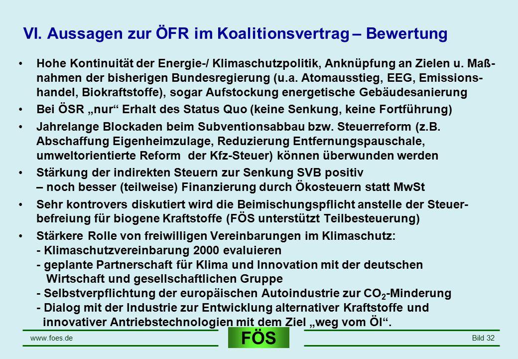 FÖS www.foes.deBild 32 VI. Aussagen zur ÖFR im Koalitionsvertrag – Bewertung Hohe Kontinuität der Energie-/ Klimaschutzpolitik, Anknüpfung an Zielen u