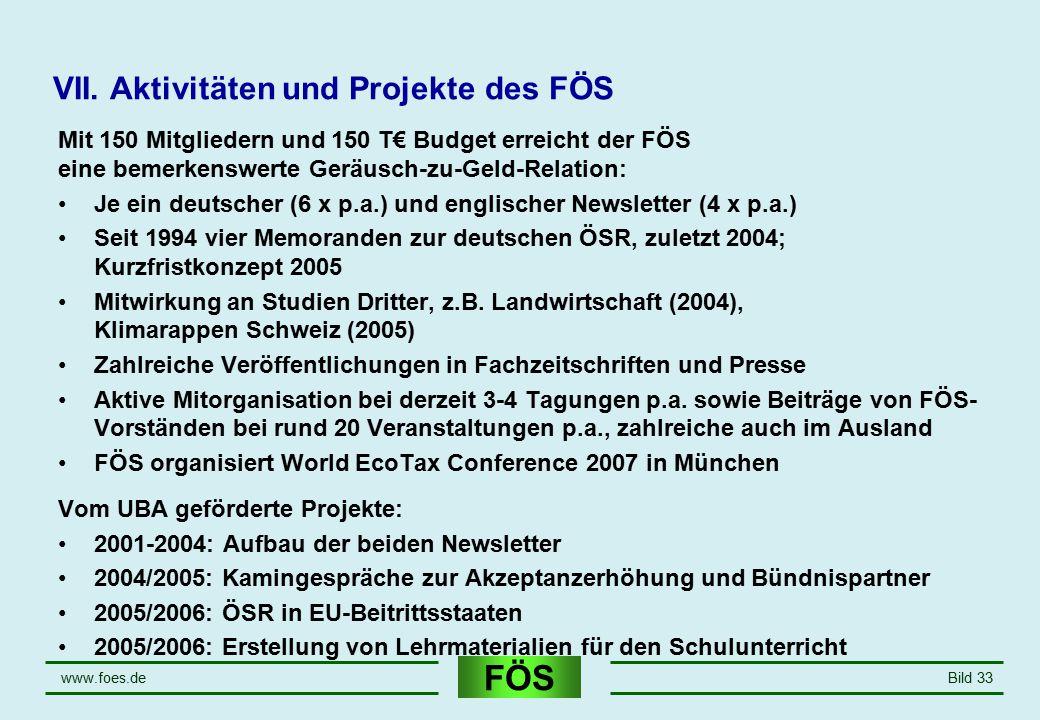 FÖS www.foes.deBild 33 VII. Aktivitäten und Projekte des FÖS Mit 150 Mitgliedern und 150 T€ Budget erreicht der FÖS eine bemerkenswerte Geräusch-zu-Ge