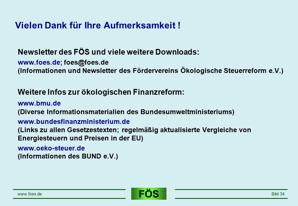 FÖS www.foes.deBild 34 Vielen Dank für Ihre Aufmerksamkeit ! Newsletter des FÖS und viele weitere Downloads: www.foes.de; foes@foes.de (Informationen
