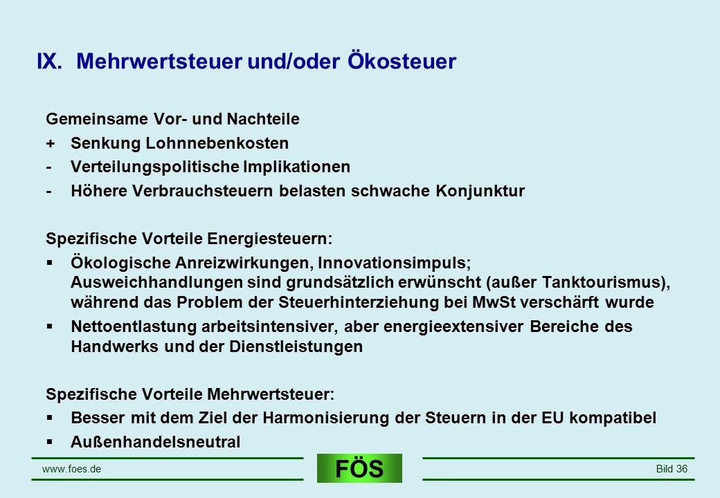 FÖS www.foes.deBild 36 IX. Mehrwertsteuer und/oder Ökosteuer Gemeinsame Vor- und Nachteile +Senkung Lohnnebenkosten -Verteilungspolitische Implikation