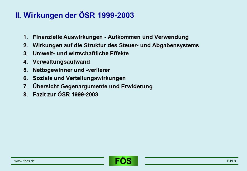 FÖS www.foes.deBild 8 II. Wirkungen der ÖSR 1999-2003 1.Finanzielle Auswirkungen - Aufkommen und Verwendung 2.Wirkungen auf die Struktur des Steuer- u