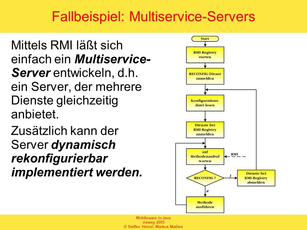 Middleware in Java vieweg 2005 © Steffen Heinzl, Markus Mathes Fallbeispiel: Multiservice-Servers Mittels RMI läßt sich einfach ein Multiservice- Server entwickeln, d.h.