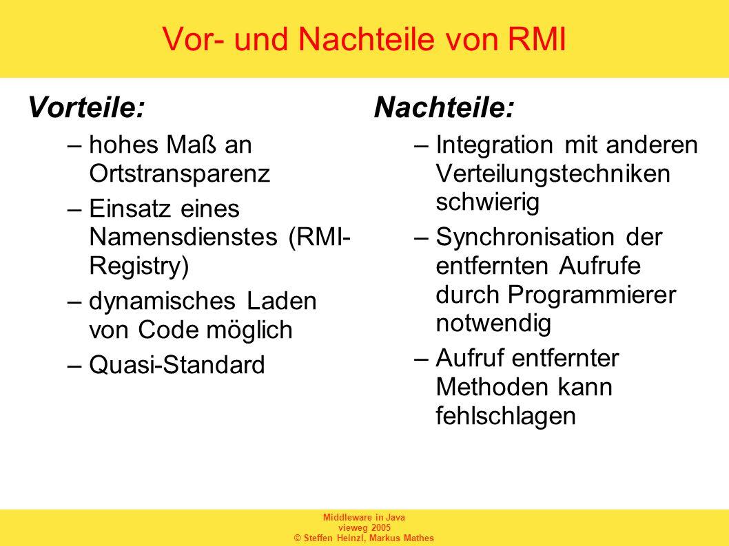 Middleware in Java vieweg 2005 © Steffen Heinzl, Markus Mathes rmic (2) Aufruf von...