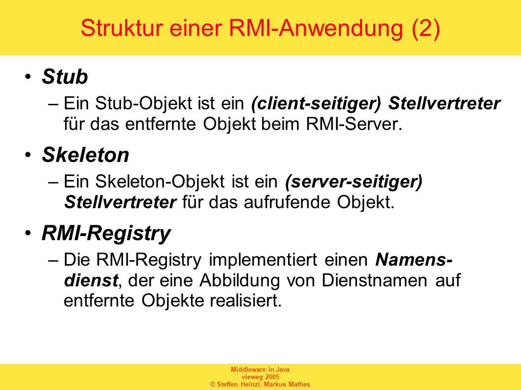 Middleware in Java vieweg 2005 © Steffen Heinzl, Markus Mathes DaytimeImpl_Stub (2) // constructors public DaytimeImpl_Stub (java.rmi.server.RemoteRef ref) { super(ref); } // methods from remote interfaces // implementation of getDaytime() public java.lang.String getDaytime() throws java.rmi.RemoteException { try { Object $result = ref.invoke(this, $method_getDaytime_0, null, 6856047024248350588L); return ((java.lang.String) $result); } catch (java.lang.RuntimeException e) { throw e; } catch (java.rmi.RemoteException e) { throw e; } catch (java.lang.Exception e) { throw new java.rmi.UnexpectedException( undeclared checked exception , e); }