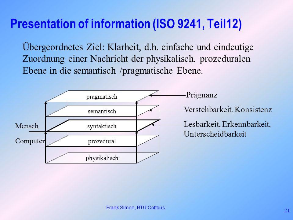 Frank Simon, BTU Cottbus 21 Presentation of information (ISO 9241, Teil12) physikalisch prozedural syntaktisch semantisch pragmatisch Mensch Computer Lesbarkeit, Erkennbarkeit, Unterscheidbarkeit Verstehbarkeit, Konsistenz Prägnanz Übergeordnetes Ziel: Klarheit, d.h.