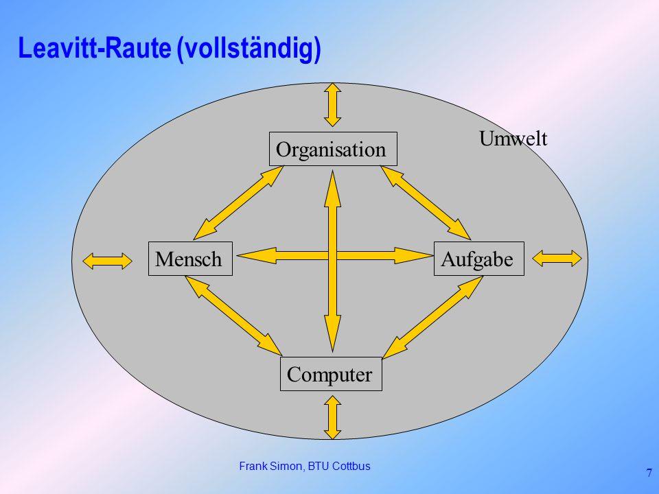 Frank Simon, BTU Cottbus 7 Leavitt-Raute (vollständig) MenschAufgabe Computer Organisation Umwelt