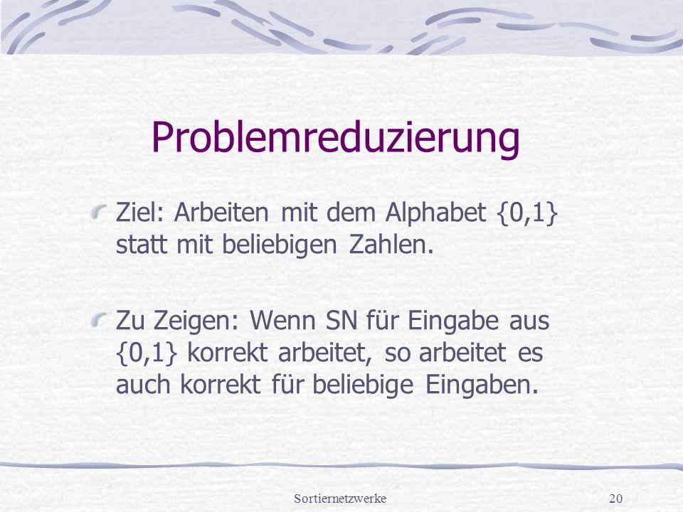Sortiernetzwerke20 Problemreduzierung Ziel: Arbeiten mit dem Alphabet {0,1} statt mit beliebigen Zahlen. Zu Zeigen: Wenn SN für Eingabe aus {0,1} korr