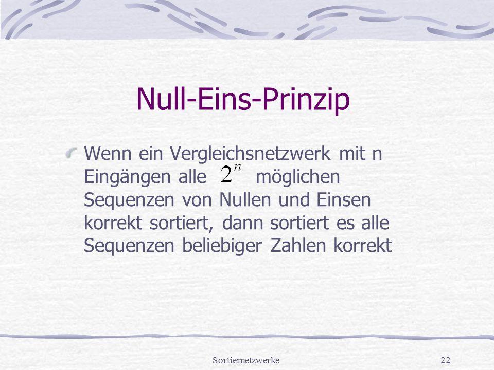 Sortiernetzwerke22 Null-Eins-Prinzip Wenn ein Vergleichsnetzwerk mit n Eingängen alle möglichen Sequenzen von Nullen und Einsen korrekt sortiert, dann