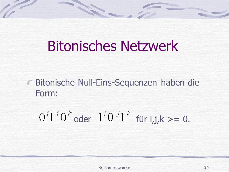 Sortiernetzwerke25 Bitonisches Netzwerk Bitonische Null-Eins-Sequenzen haben die Form: oder für i,j,k >= 0.