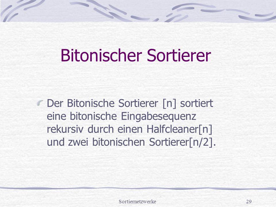 Sortiernetzwerke29 Bitonischer Sortierer Der Bitonische Sortierer [n] sortiert eine bitonische Eingabesequenz rekursiv durch einen Halfcleaner[n] und