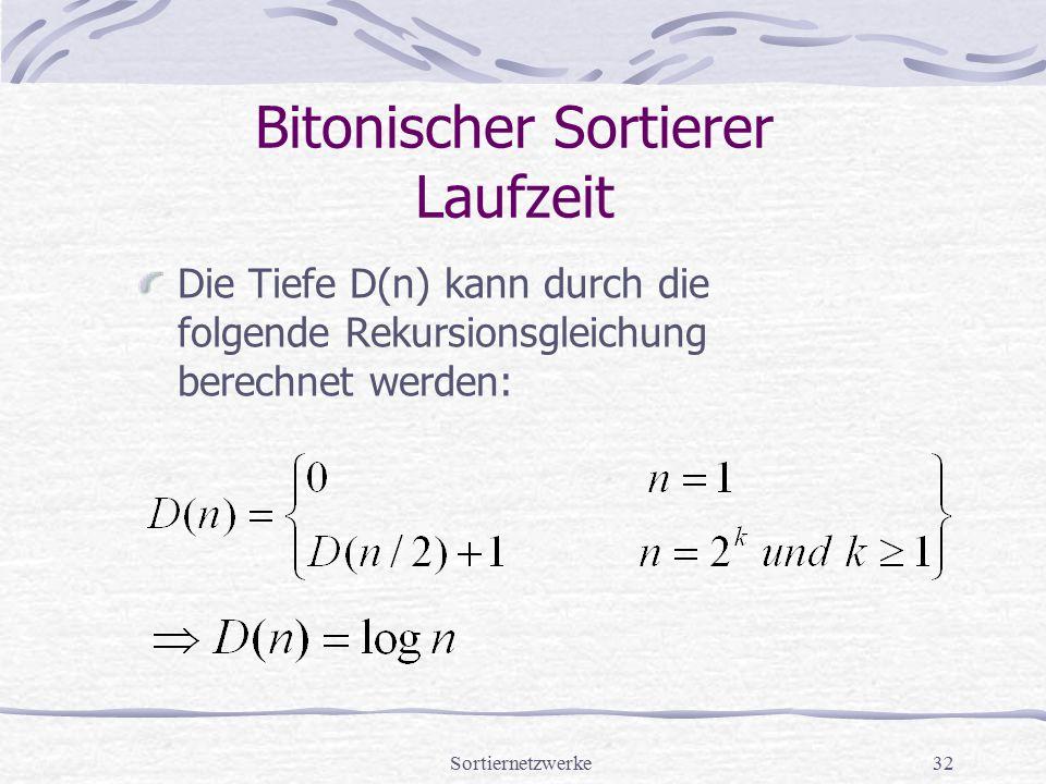 Sortiernetzwerke32 Bitonischer Sortierer Laufzeit Die Tiefe D(n) kann durch die folgende Rekursionsgleichung berechnet werden: