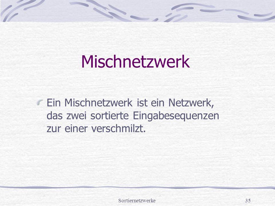 Sortiernetzwerke35 Mischnetzwerk Ein Mischnetzwerk ist ein Netzwerk, das zwei sortierte Eingabesequenzen zur einer verschmilzt.