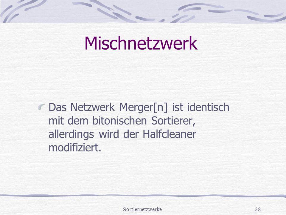 Sortiernetzwerke38 Mischnetzwerk Das Netzwerk Merger[n] ist identisch mit dem bitonischen Sortierer, allerdings wird der Halfcleaner modifiziert.