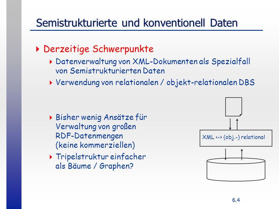 6.15 XML Datenbank  Stream-orientiert:  Serialisierung, Speichern in Dateien, LOBs  Templates  Modellorientiert ( metamodeling )  Generisch: einheitliches Schema für alle XML-Dokumente, kanonische Abbildung von XML-Syntax auf DB-Datenmodell und umgekehrt Element ( id, name), Attribute (id, type, name), ContentStructure(.....)  DTD-spezifisch: Abbildung einer konkreten DTD auf Datenmodell The following flights have available seats: SELECT Airline, FltNumber, Depart, Arrive FROM Flights We hope one of these meets your needs