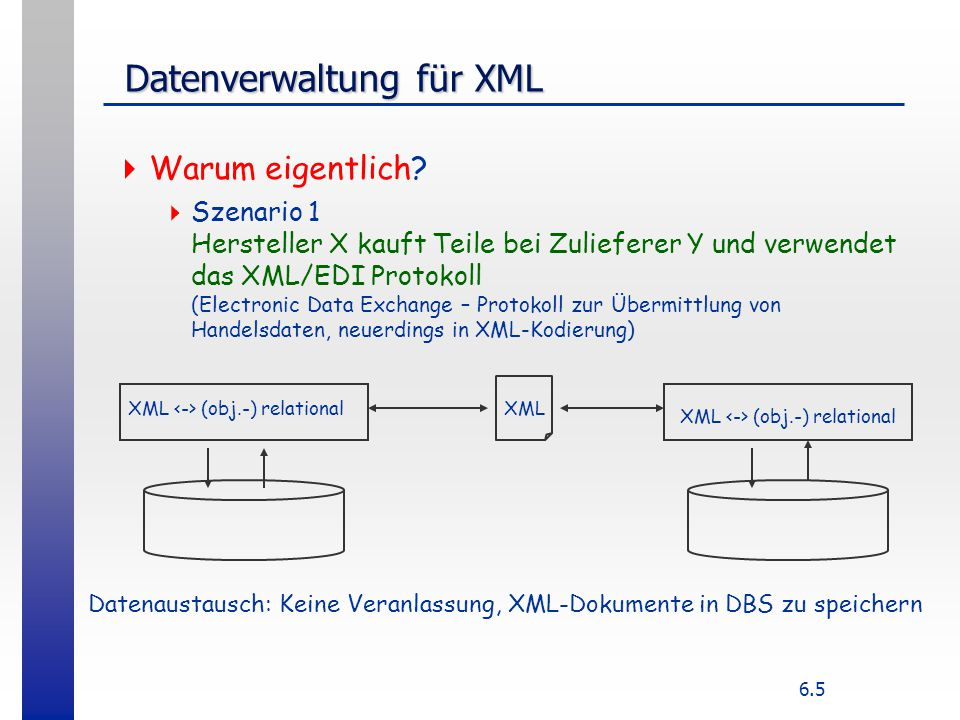 """6.6 Datenverwaltung für XML Datenverwaltung für XML  Szenario 2 Internetshop biete Produkte aus einem Datenkatalog mit vielfältigem Angebot an (""""Otto-Katalog ) Application Server / Web-server Angebot muss abfragbar sein, verschiedenste Kriterien (Anfragen mit DBS- und IR-Anteilen) """"Fahrrad mit Alurahmen, möglichst rot, höchstens 800,-DM"""