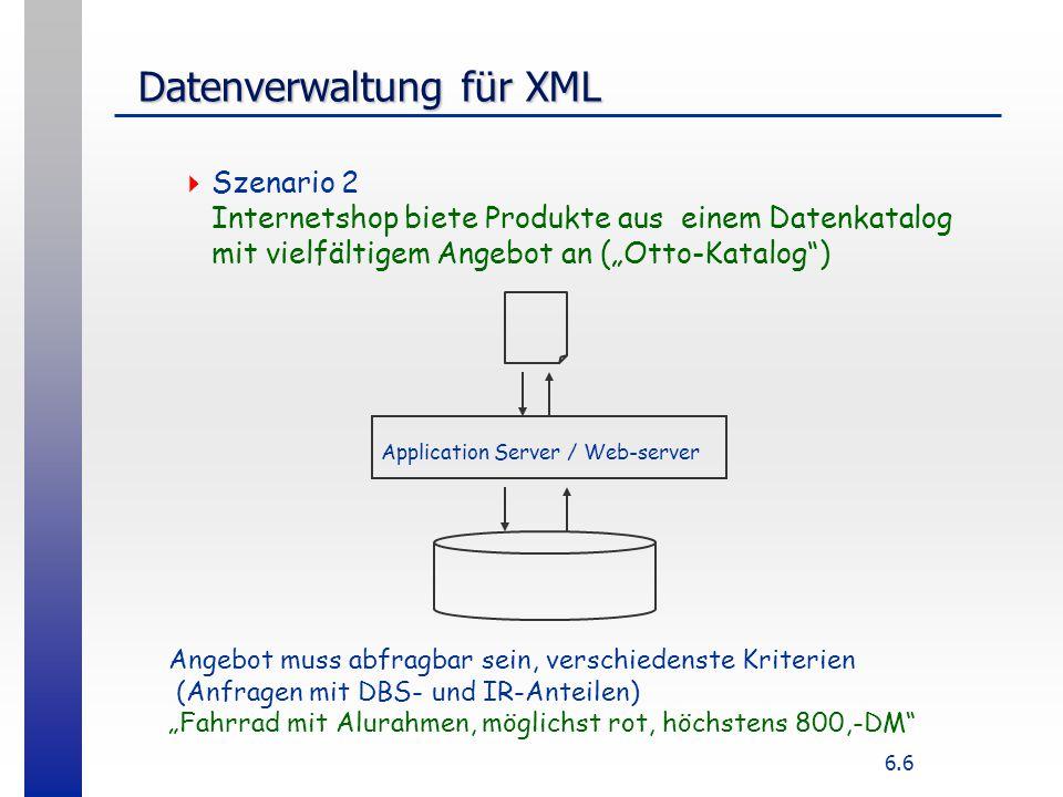 6.17 Hierarchie in Objektrelationaler DB  Create TYPE adressType AS OBJECT {street varchar2(80}, city...}; Create TYPE lineItemList AS TABLE OF lineItemType; Create TYPE lineItemType AS OBJECT {no number, name varcchar(40), price...}; Create TYPE purchaseOrderType AS OBJECT {purchaseNo number, customer customerType, address addressType,...
