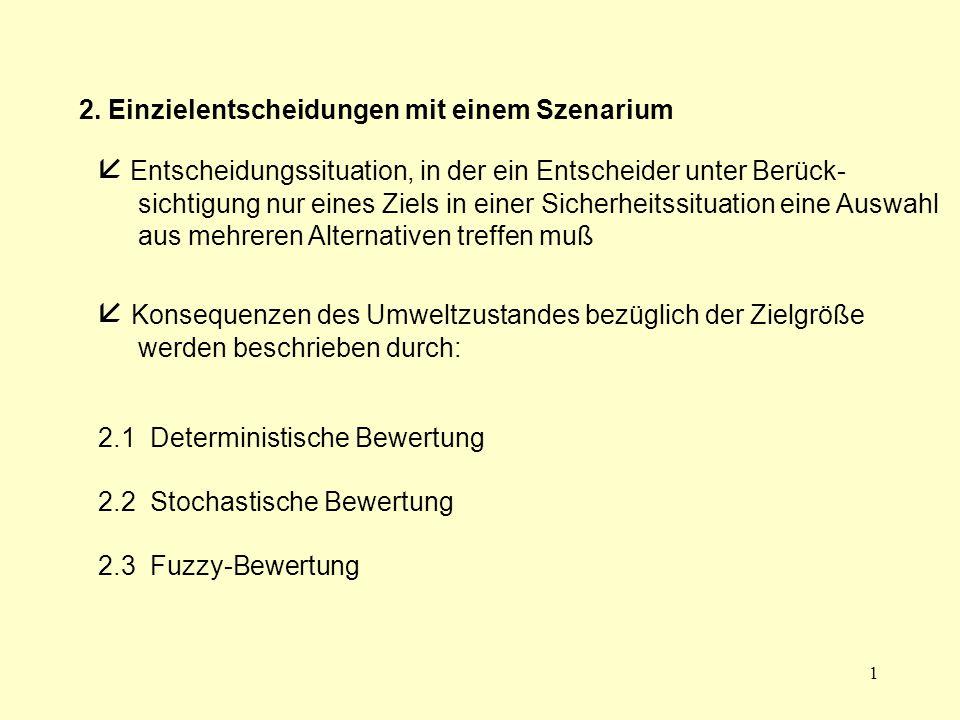 2 2.1 Deterministische Bewertung  Ergebnisse in Form reeller Zahlen x i = g(a i )  Ergebnisse in Form von Nutzenwerten  (ordinale) Nutzenfunktion:  anspruchsniveaubezogene Zielformulierung  optimale Aktion a*  A