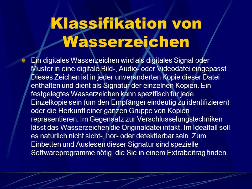 Klassifikation von Wasserzeichen Ein digitales Wasserzeichen wird als digitales Signal oder Muster in eine digitale Bild-, Audio- oder Videodatei eing