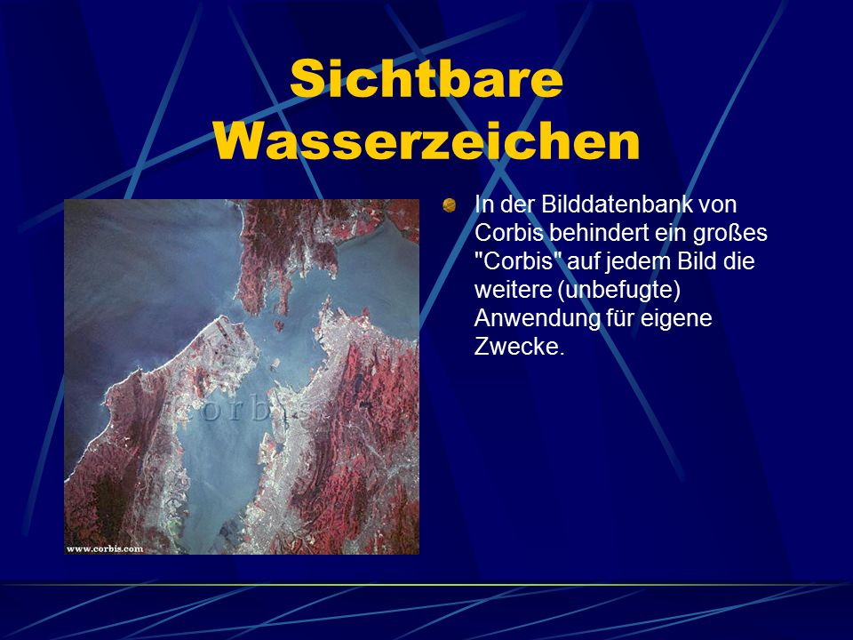 Sichtbare Wasserzeichen In der Bilddatenbank von Corbis behindert ein großes