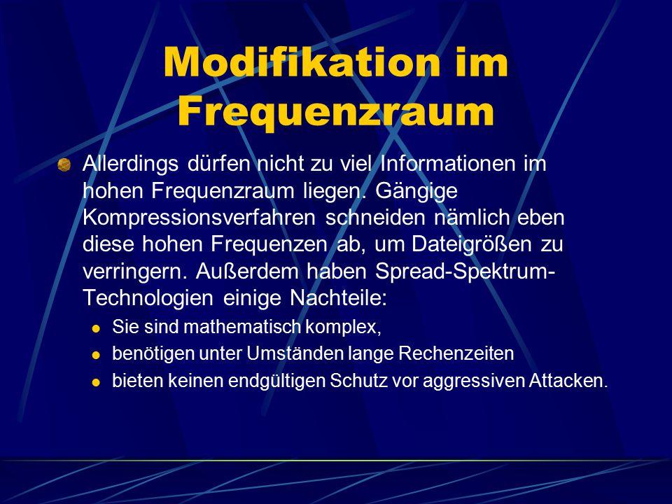 Modifikation im Frequenzraum Allerdings dürfen nicht zu viel Informationen im hohen Frequenzraum liegen. Gängige Kompressionsverfahren schneiden nämli