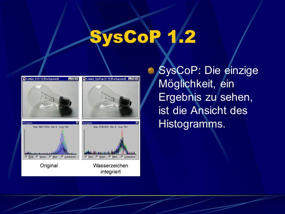 SysCoP 1.2 SysCoP: Die einzige Möglichkeit, ein Ergebnis zu sehen, ist die Ansicht des Histogramms.