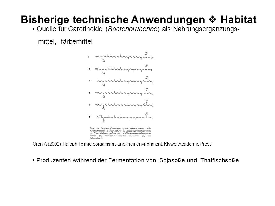 Resistenzmechanismen Salt – in StrategieCompatible-Solute Strategie Osmotisches Gegengewicht: K+K+ Kleine, organische Moleküle; Kompatibel zum Metabol
