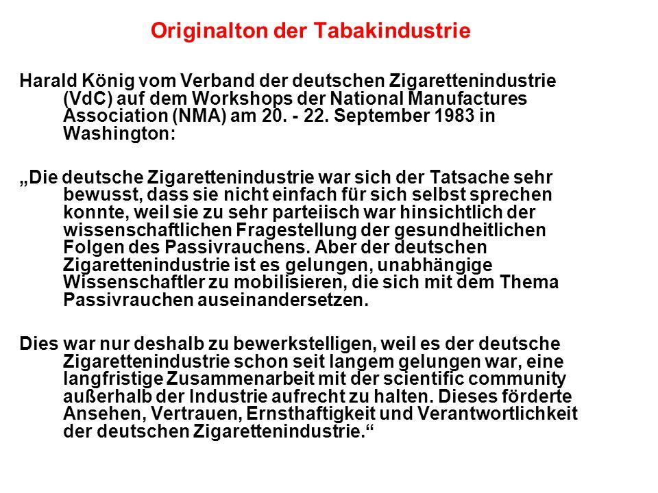 Originalton der Tabakindustrie Harald König vom Verband der deutschen Zigarettenindustrie (VdC) auf dem Workshops der National Manufactures Association (NMA) am 20.