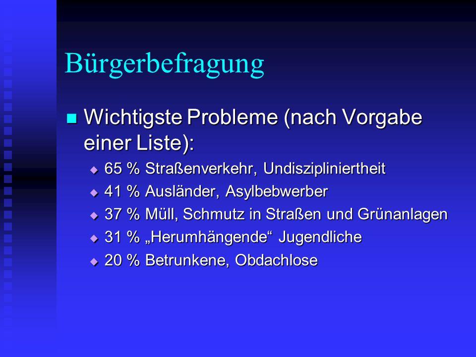 Bürgerbefragung Wichtigste Probleme (nach Vorgabe einer Liste): Wichtigste Probleme (nach Vorgabe einer Liste):  65 % Straßenverkehr, Undiszipliniert