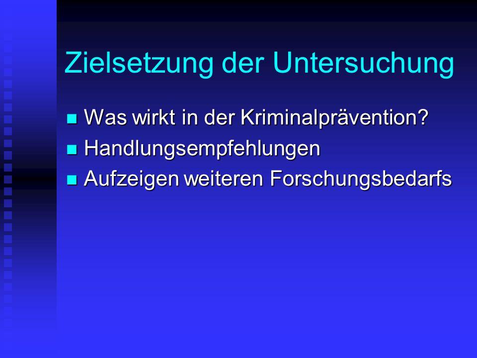 Zielsetzung der Untersuchung Was wirkt in der Kriminalprävention? Was wirkt in der Kriminalprävention? Handlungsempfehlungen Handlungsempfehlungen Auf
