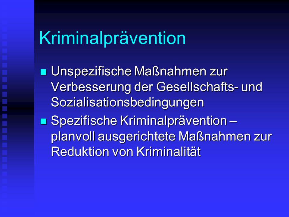 Kriminalprävention Unspezifische Maßnahmen zur Verbesserung der Gesellschafts- und Sozialisationsbedingungen Unspezifische Maßnahmen zur Verbesserung