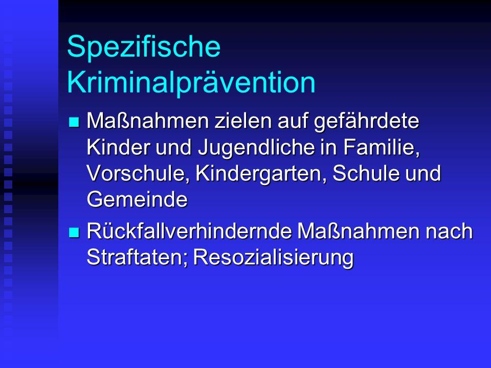 Spezifische Kriminalprävention Maßnahmen zielen auf gefährdete Kinder und Jugendliche in Familie, Vorschule, Kindergarten, Schule und Gemeinde Maßnahm