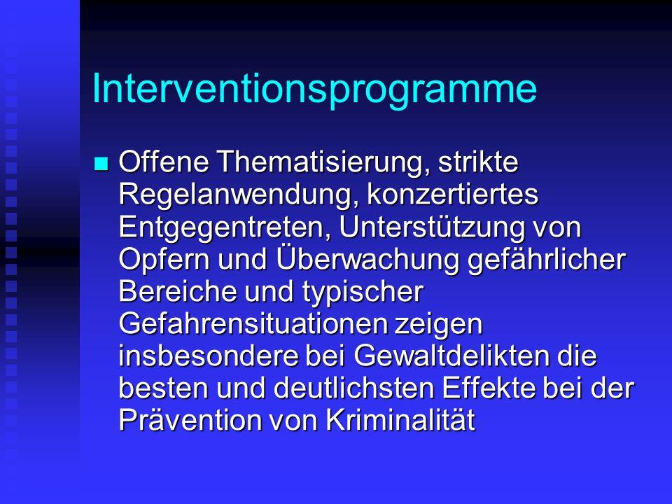Interventionsprogramme Offene Thematisierung, strikte Regelanwendung, konzertiertes Entgegentreten, Unterstützung von Opfern und Überwachung gefährlic